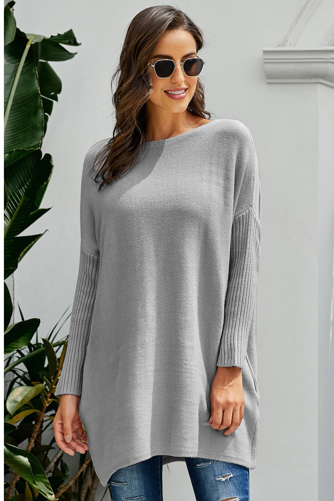 Gray Oversized Batwing Sleeve Sweater Dress - Dresses - Sunny Angela