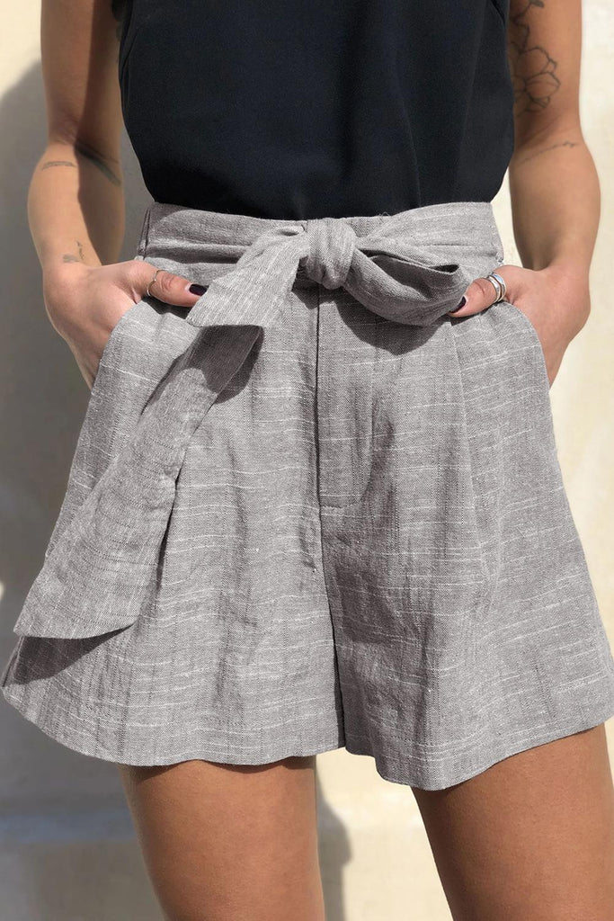 Gray Tie Waist Casual Linen Shorts with Pockets - Pants & Culotte - Sunny Angela