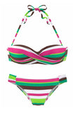 Green Boho Stripes Push up Bikini Set - Bikinis - Sunny Angela