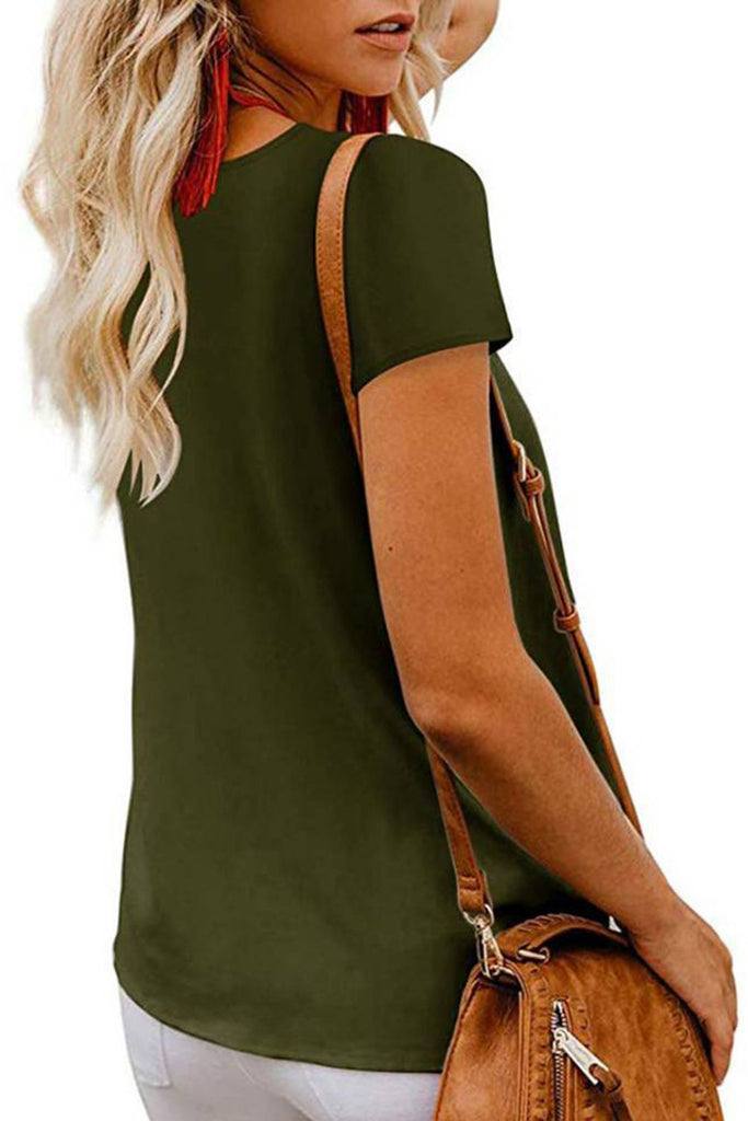 Green Button Detail Short Sleeve V Neck Blouse - Blouses & Shirts - Sunny Angela