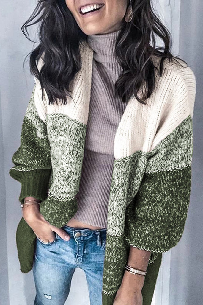 Green Chic Stripe Long Sleeve Knit Cardigan - S - Sweaters & Cardigans - Sunny Angela