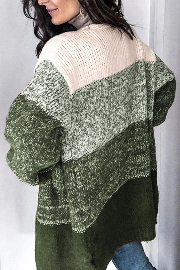 Green Chic Stripe Long Sleeve Knit Cardigan - M - Sweaters & Cardigans - Sunny Angela