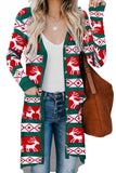 Green Christmas Element Print Long Cardigan - Sweaters & Cardigans - Sunny Angela