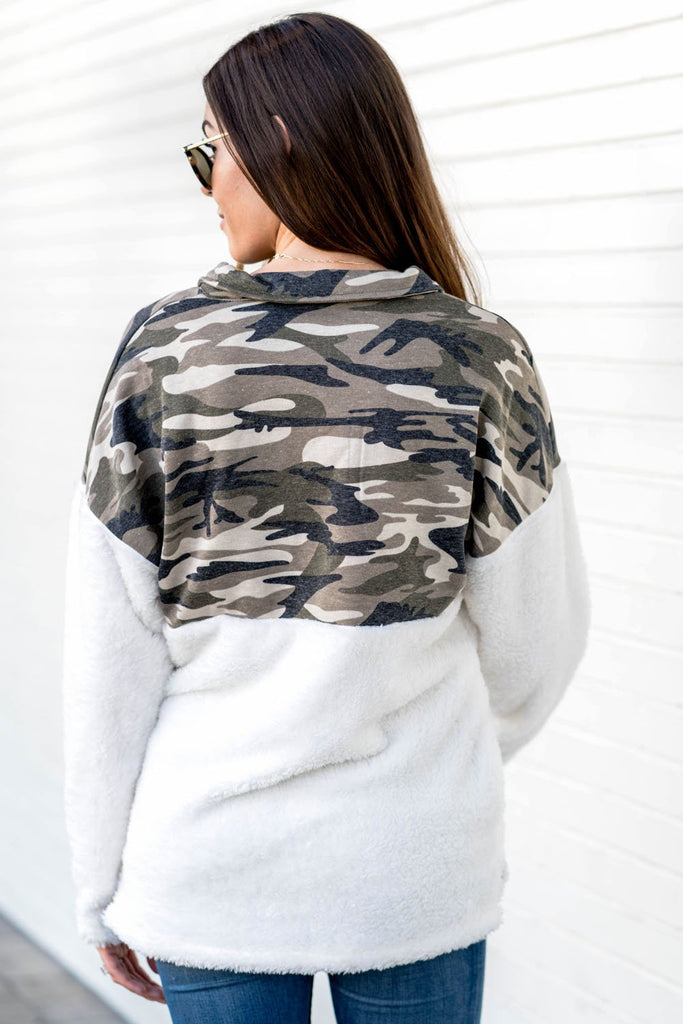 Green Fuzzy Pullover with Camo Detail - Sweatshirts & Hoodies - Sunny Angela