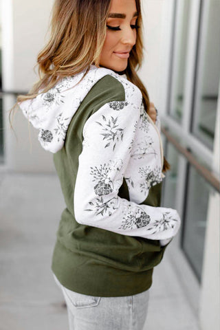 Green Half Zip Floral Print Color Block Drawstring Hoodie - M - Sweatshirts & Hoodies - Sunny Angela