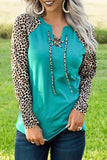 Green Leopard Patchwork Lace-up Front Long Sleeve Top - M - Tops - Sunny Angela
