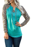 Green Leopard Patchwork Lace-up Front Long Sleeve Top - L - Tops - Sunny Angela