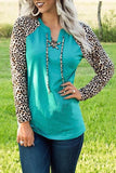 Green Leopard Patchwork Lace-up Front Long Sleeve Top - S - Tops - Sunny Angela