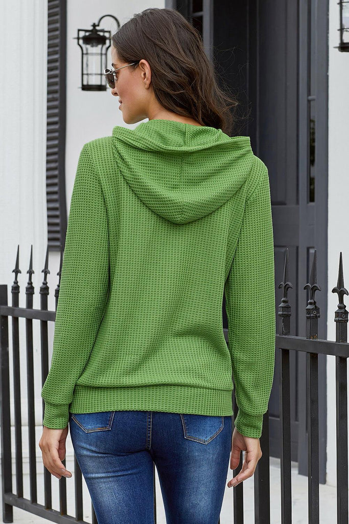 Green Open Front Pocket Button Down Knit Cardigan Coat - Suits & Coats - Sunny Angela