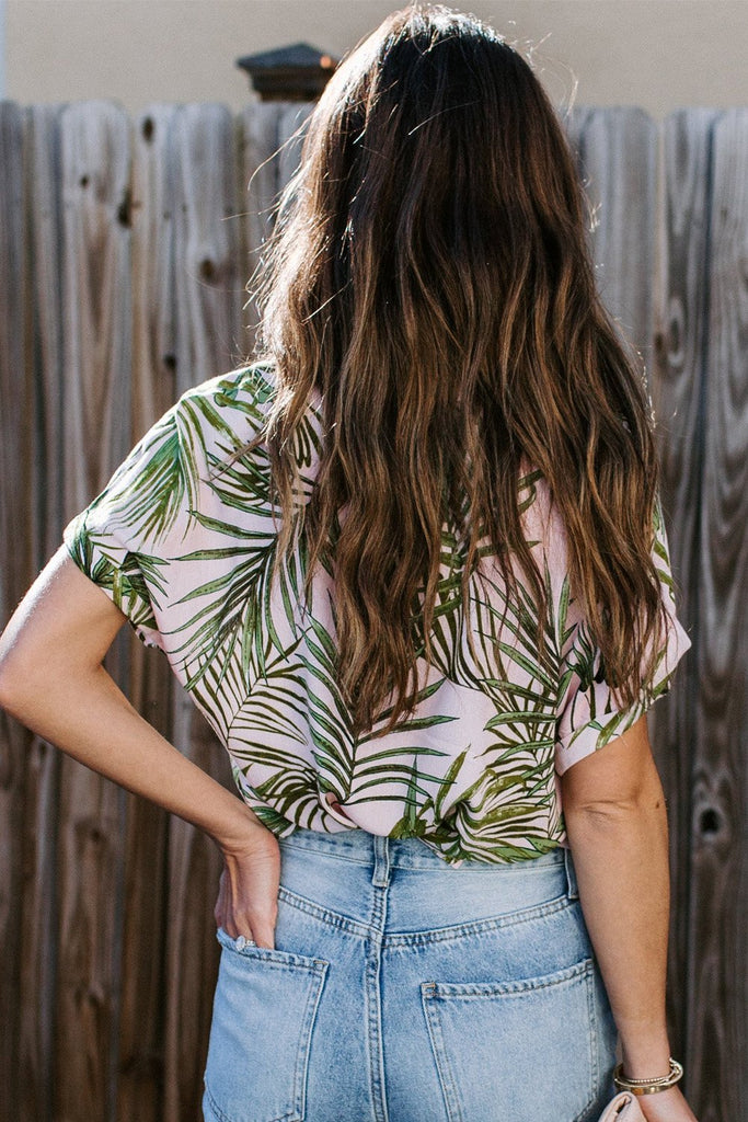 Green Printed Button Front Top - Blouses & Shirts - Sunny Angela