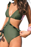 Green Ruffle One-piece Swimsuit - One-Piece Swimwear - Sunny Angela