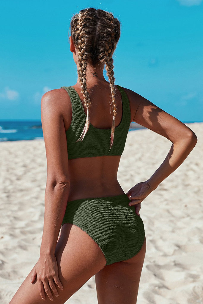 Green Scoop Neck Crop Top Mid Rise Bottom Two-piece Swimsuit - Bikinis - Sunny Angela