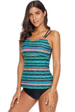 Green Tribal Geometry Tankini Swim Top - Tops - Sunny Angela