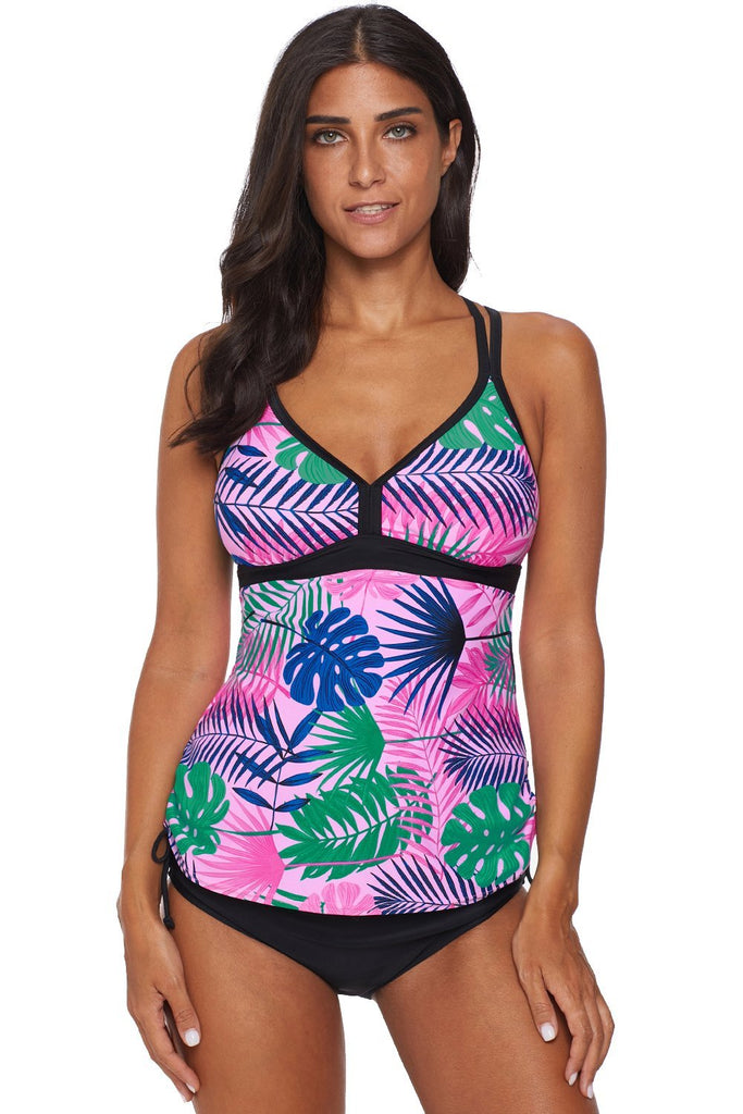 Green Tropical Print Cut out Tankini Swimsuit - Tankinis - Sunny Angela