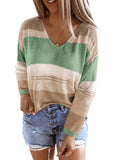 Green V Neck Colorblock Knitted Sweater with Hollow-out - XL - Sweaters & Cardigans - Sunny Angela