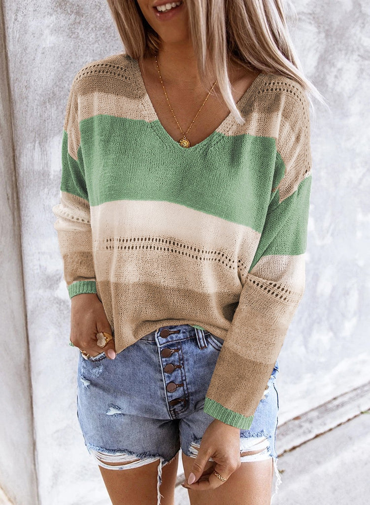 Green V Neck Colorblock Knitted Sweater with Hollow-out - S - Sweaters & Cardigans - Sunny Angela