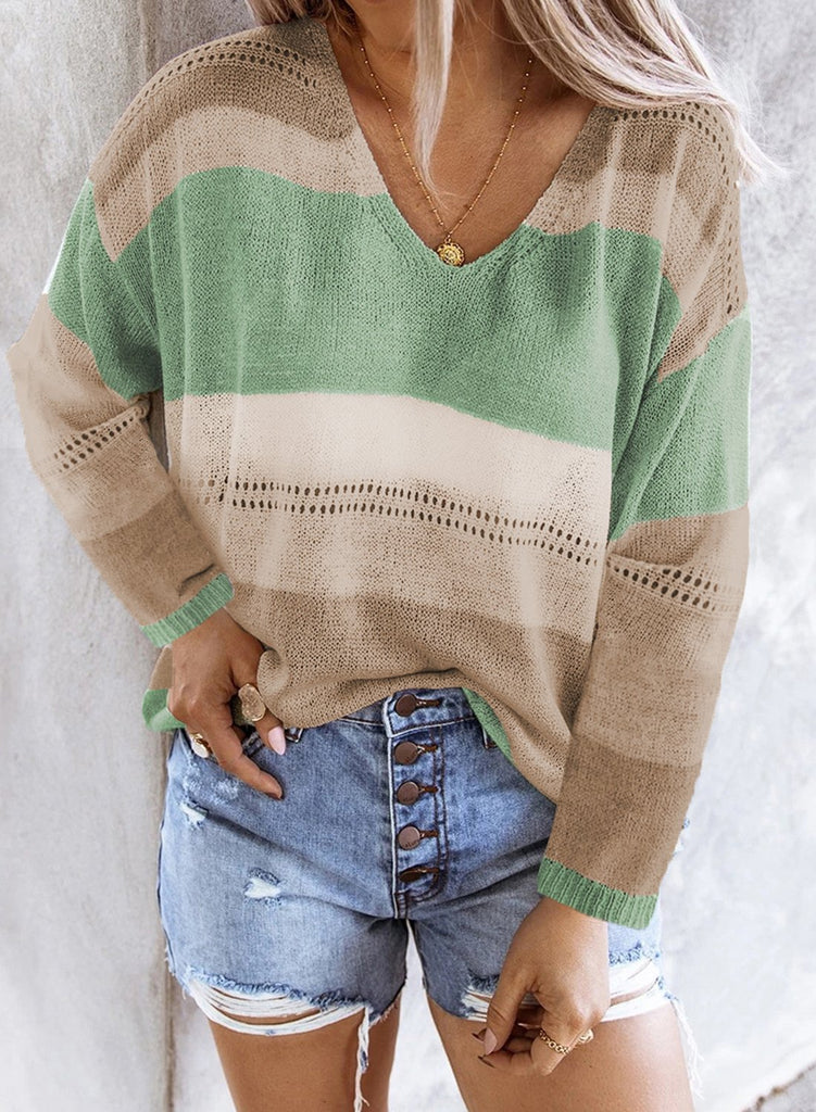 Green V Neck Colorblock Knitted Sweater with Hollow-out - L - Sweaters & Cardigans - Sunny Angela
