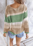 Green V Neck Colorblock Knitted Sweater with Hollow-out - M - Sweaters & Cardigans - Sunny Angela