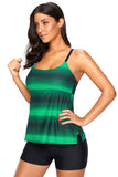 Greenish Strappy Hollow-out Back Tankini - Tankinis - Sunny Angela