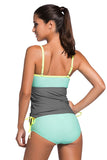Grey Light Blue Colorblock 2pcs Tankini Swimsuit - Tankinis - Sunny Angela