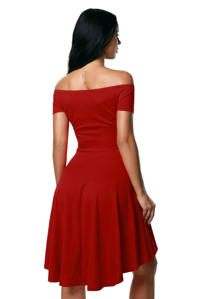 Hot Red All The Rage Skater Dress - Dresses - Sunny Angela