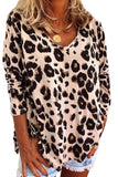 Khaki Casual Leopard Print Long Sleeves T-shirt - XL - Sleeve Tops - Sunny Angela