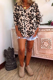 Khaki Casual Leopard Print Long Sleeves T-shirt - L - Sleeve Tops - Sunny Angela