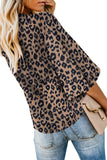 Khaki Cheetah Print Button Tie Top - Blouses & Shirts - Sunny Angela