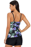 Lace Up Detail Floral Tankini Top - Swim Tops - Sunny Angela