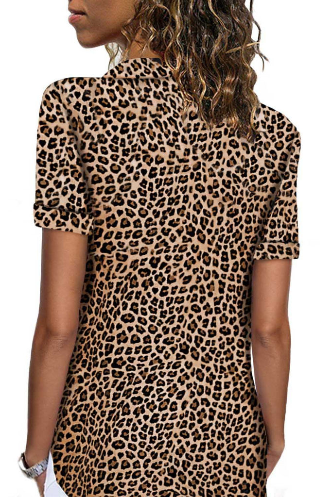 Leopard Short Sleeve Button Up Shirt - Blouses & Shirts - Sunny Angela