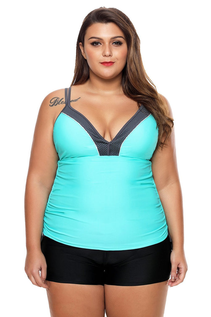 Mint Bralette Tankini Top with Shorts Swimsuit - Tankinis - Sunny Angela
