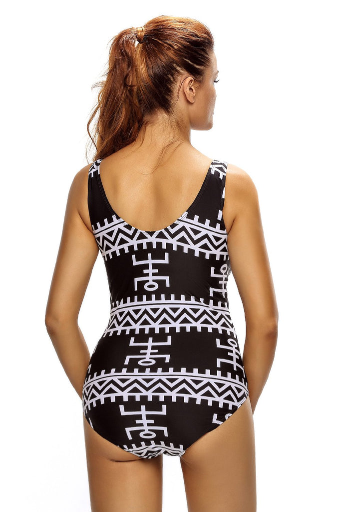 Monochrome Pictographic Lace Up V Neck Teddy Swimwear - One-Piece - Sunny Angela