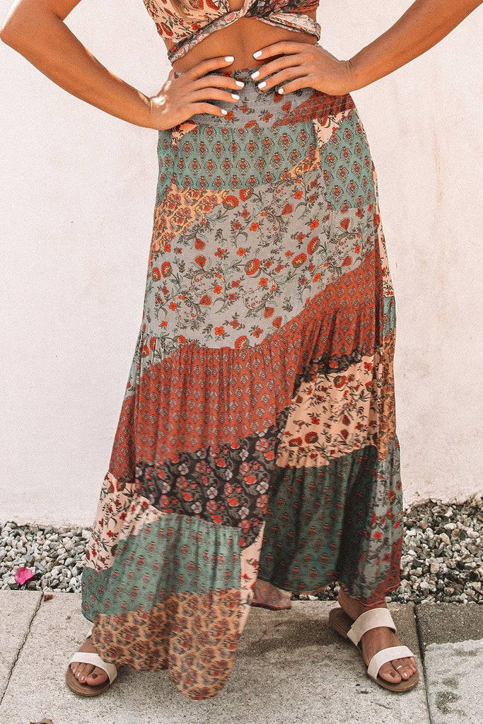 Multicolor Boho Print Tie-Up Waist Long Maxi Skirt - Skirts & Petticoat - Sunny Angela