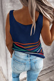 Multicolor Stripes Blue Knit Tank Top - Tops - Sunny Angela