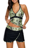 Olive White Spots V-neck Tankini Wrapped Skirt Swimsuit - Tankinis - Sunny Angela