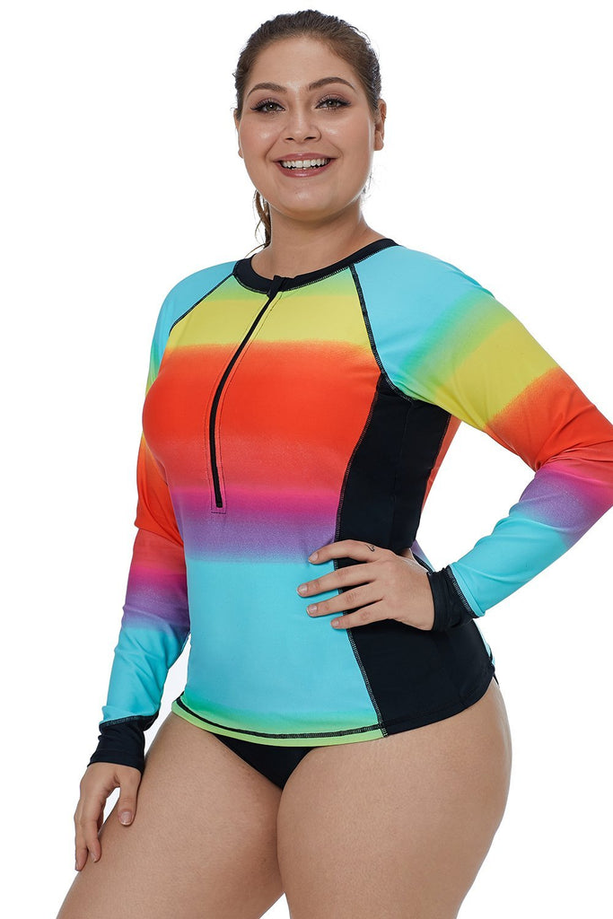Ombre Color Block Long Sleeve Rash Guard Top - Guards - Sunny Angela