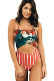 Orange Floral Print Patchwork Stripes One-piece Swimsuit - One-Piece Swimwear - Sunny Angela