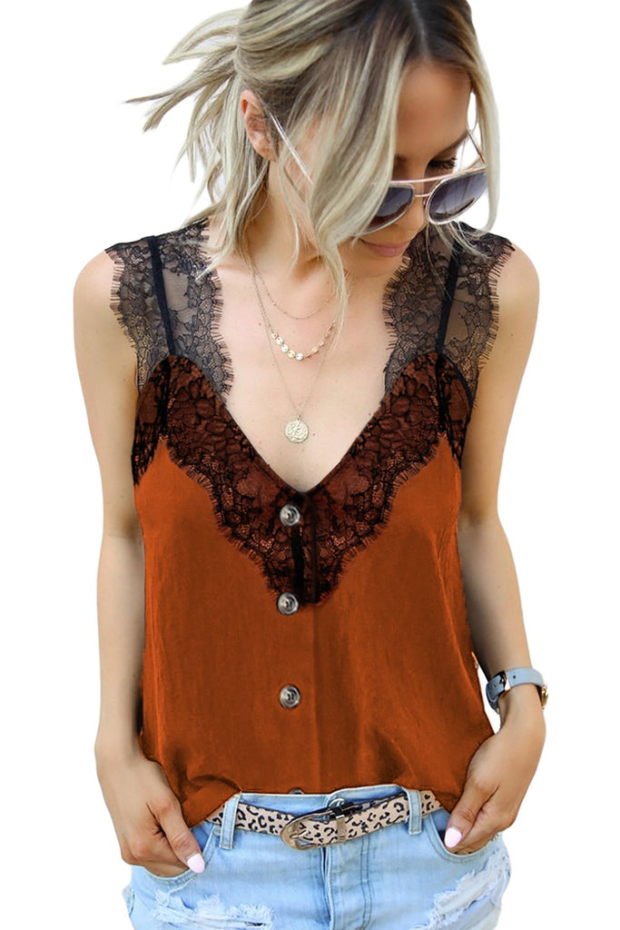 Orange V Neck Lace Strappy Cami Tank Top - Tops - Sunny Angela