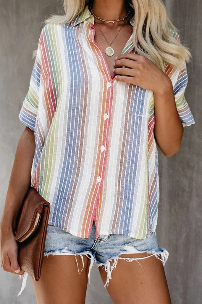 Pale Happier With You Striped Button Top - Blouses & Shirts - Sunny Angela