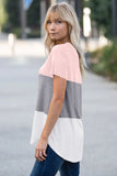 Pink Color Block V Neck T-shirt - Tops & Tees - Sunny Angela