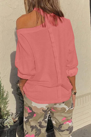 Pink Cut Out Shoulder Sweatshirt - M - Sweatshirts & Hoodies - Sunny Angela