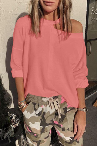 Pink Cut Out Shoulder Sweatshirt - S - Sweatshirts & Hoodies - Sunny Angela