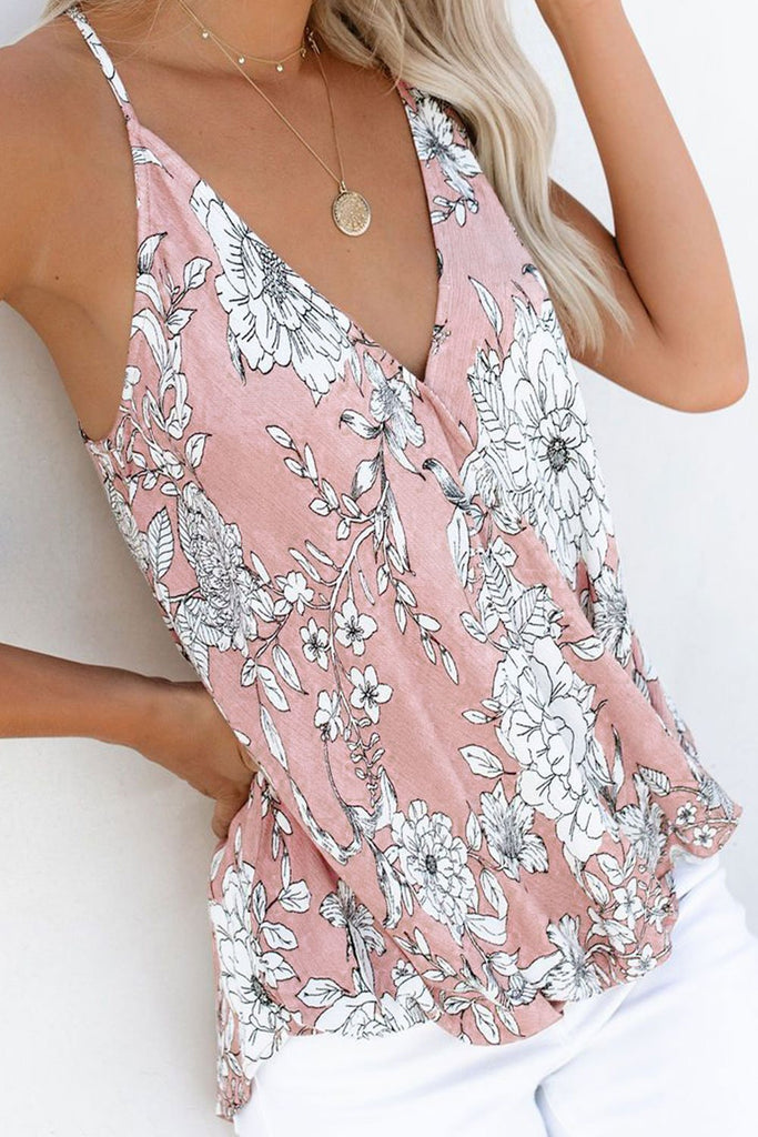 Pink Floral Palm Drape Tank - Tops - Sunny Angela