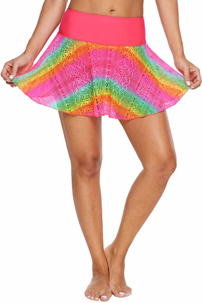 Rainbow Lace Flared Swim Skirt - Bottoms - Sunny Angela