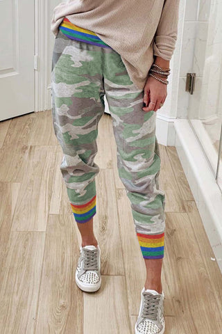 Rainbow Stripe Camo Casual Pants - S - & Culotte - Sunny Angela