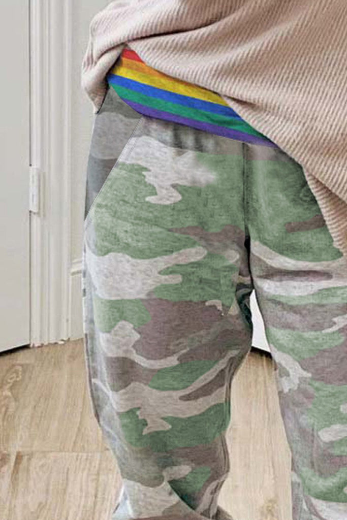 Rainbow Stripe Camo Casual Pants - L - & Culotte - Sunny Angela