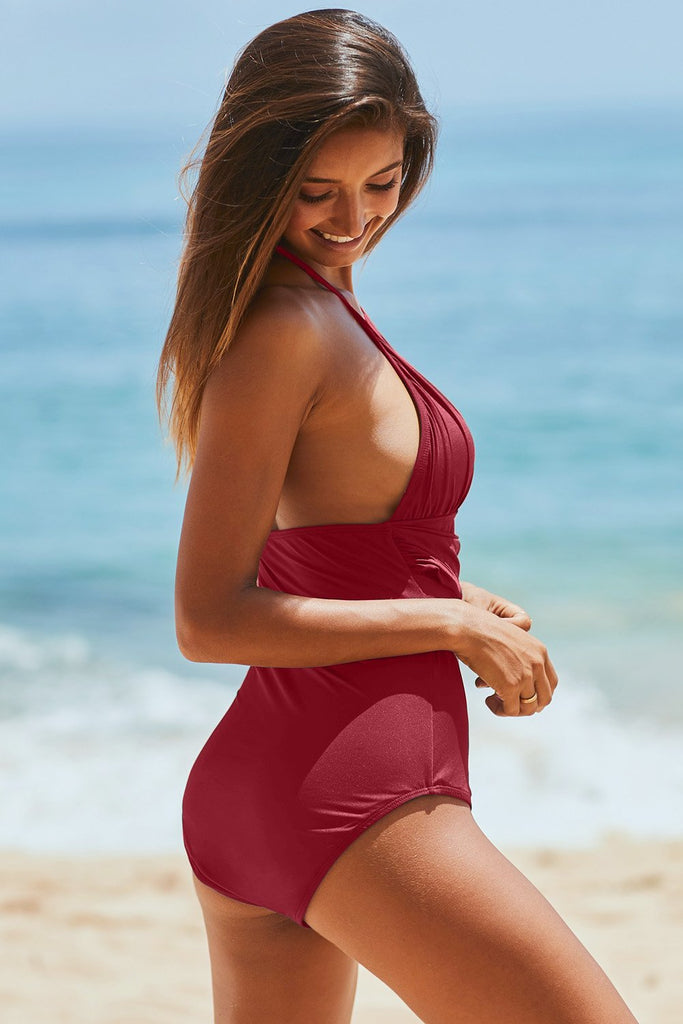 Red High Neck Ruched Monokini Swimwear with Self Tie Strap - One-Piece - Sunny Angela