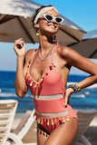 Red Mesh Patchwork One-piece Swimsuit - One-Piece Swimwear - Sunny Angela