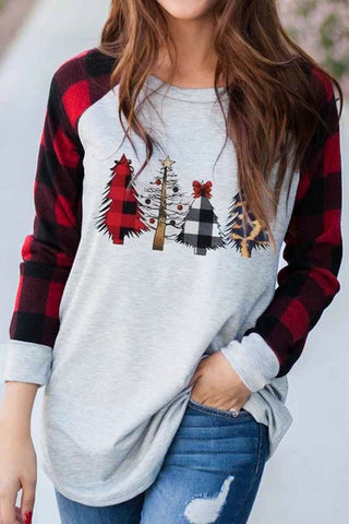 Red Round Collar Christmas Tree Plaid Splice Sweatshirt - S - Sweatshirts & Hoodies - Sunny Angela