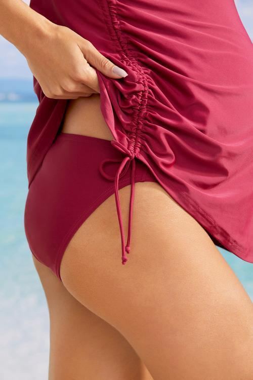 Red Tank Top Maternity Swimsuit with Panty - Sunny Angela